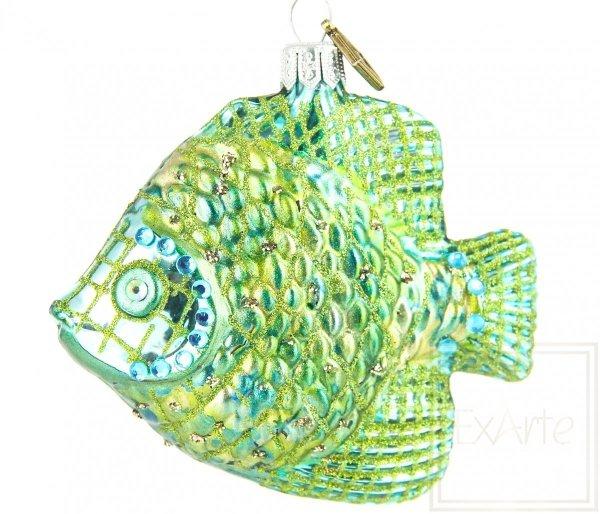 szklana bombka w kształcie zielonej rybki / Fisch 9cm - Smaragd