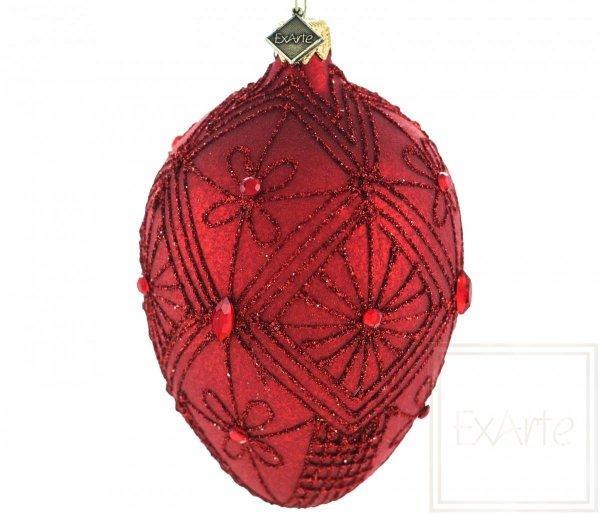 bombka karminowa z ornamentem