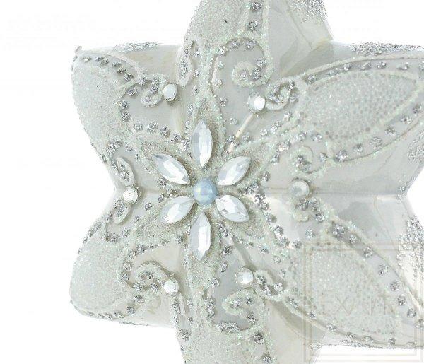 biała szklana bombka gwiazdka / ExArte Stern 12cm Polaris / Christmas Star 12cm Polaris