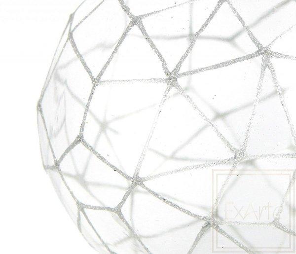 szklana bombka bezbarwna wielościan / Polygon 12,5cm - silbriges Netz