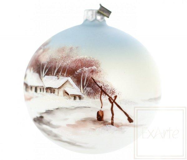 malowana bomba na choinkę zima