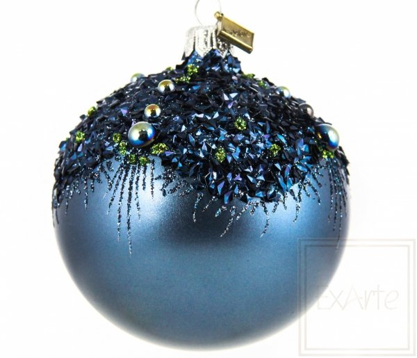 Szklana bombka kula granatowa, 8cm Ball, Oberlichter
