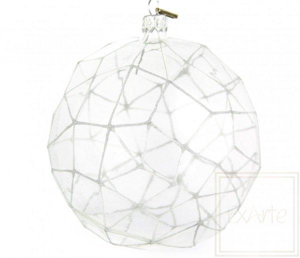 bombka szklana bez koloru / Polygon 12,5cm - silbriges Netz