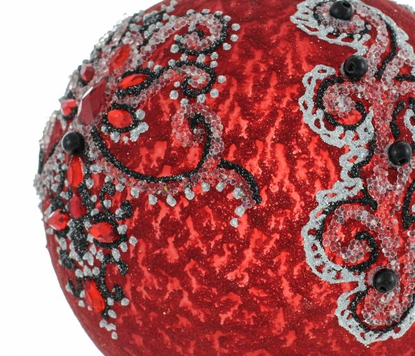 czerwono-czarna bańka na choinkę / Ball von 10cm - Le Grand Bal