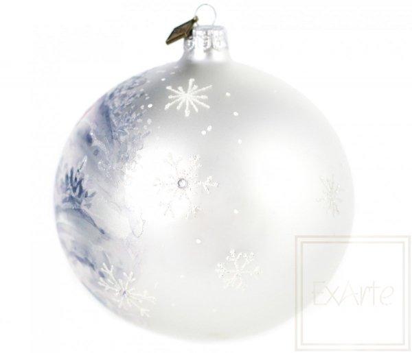 zimowa scenka bombka ręcznie malowana