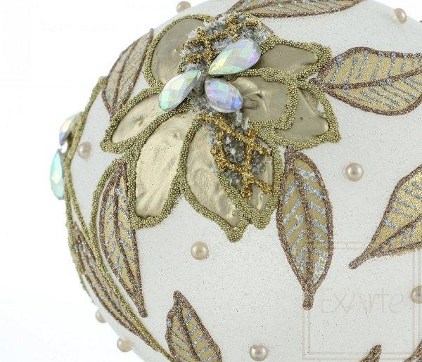 złote liście szklana bombka / 10cm Kugel - goldene Blume