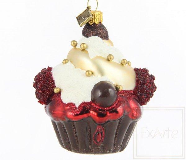 Bombka szklana babeczka czekoladowa, Cupcake 9cm - Schokolade Versuchung