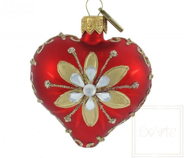 szklana bombka serce z kwiatem / Herz 5cm - Gold / Heart 5cm - Gold