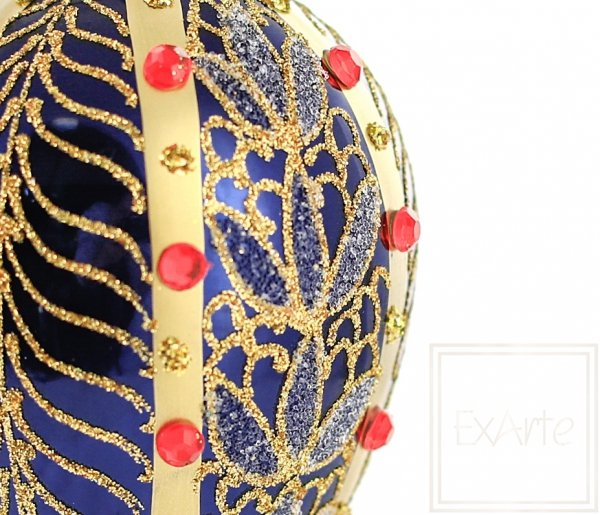 granatowo-złota bombka jajko