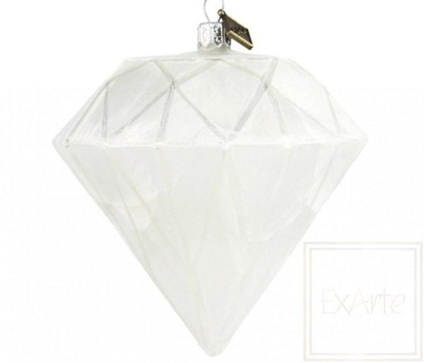 Bombka szklana diament biały, Diamond 10cm - Herz des Winters