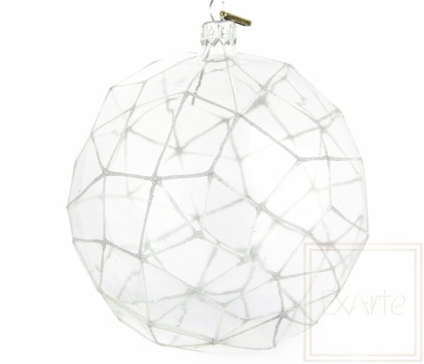 Bombka szklana transparentna dekorowana, Polygon 12,5cm - silbriges Netz
