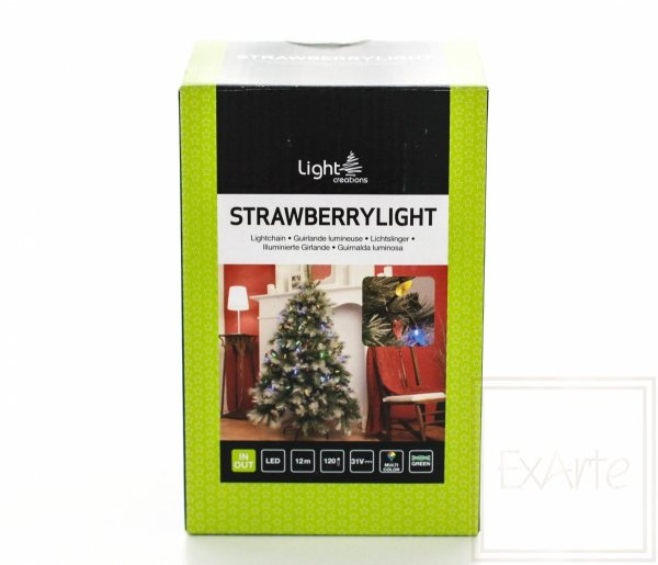 Lampki choinkowe Strawberry- długość 12m, wielokolorowe