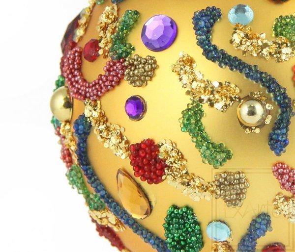 złota bombka szklana ręcznie zdobiona / Kugel 8cm - Karneval Aromen