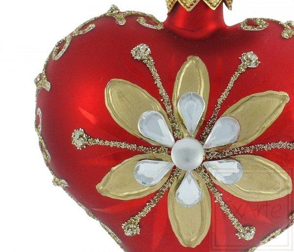 serce z kwiatem bombka choinkowa / Herz 5cm - Gold / Heart 5cm - Gold