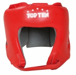 Kask bokserski Top Ten AIBA skóra - czerwony