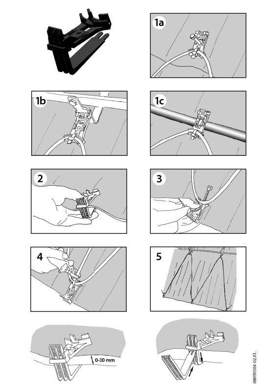 Sposób montowania kabla grzejnego przy użyciu uchwytu dachowego DEVIclip Guardhook