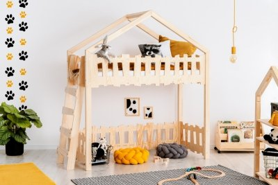 Zippo BA 90x160cm Łóżko piętrowe dziecięce domek Mila ADEKO