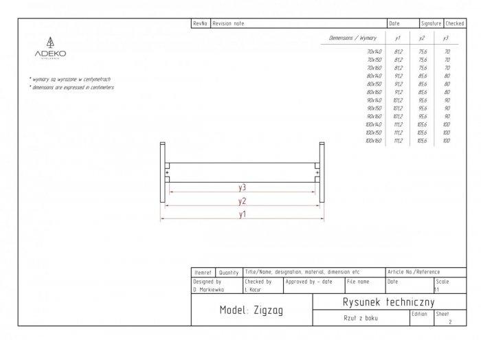 Zig 80x160cm Łóżko młodzieżowe ADEKO