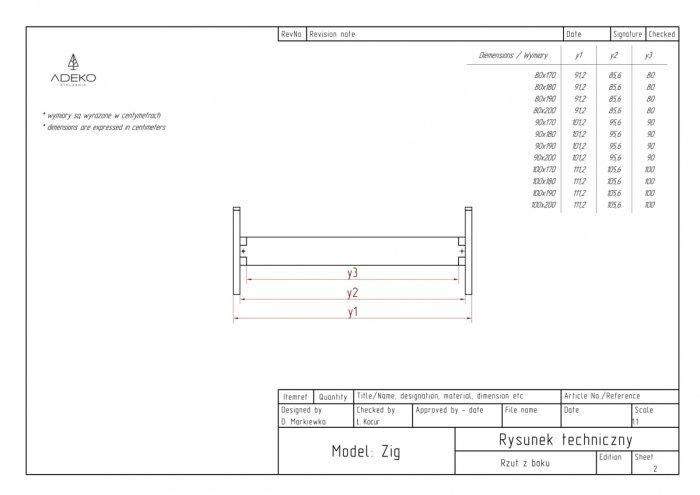 Zig 100x160cm Łóżko młodzieżowe ADEKO