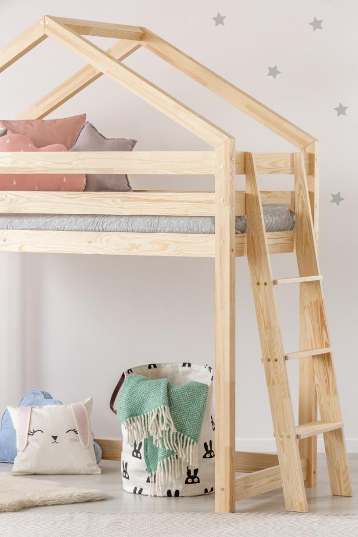 DMPBA 80x180cm Łóżko piętrowe dziecięce domek Mila ADEKO