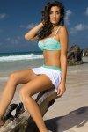 Spódniczka plażowa Marko Meg Bianco-Maldive M-266 Biało-zielony (223)