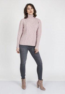 MKMSwetry Estelle SWE 121 Pudrowy róż sweter damski