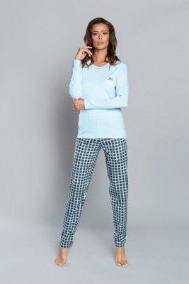 If piżama damska devi długi rękaw i spodnie niebieski/druk