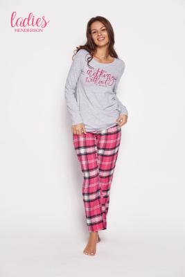 Esotiq Galya 35598-09x Szaro-różowa piżama damska