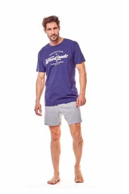 Henderson Fine 36200-59X Granatowo-szara piżama męska