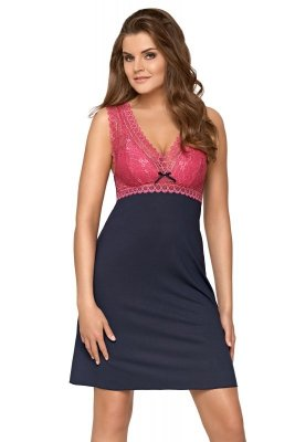 Babella Larisa Kobaltowo-Różowa koszula nocna