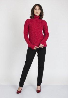 MKMSwetry Estelle SWE 121 Malinowy sweter damski