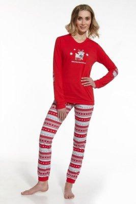 Cornette 671/54 Reindeer czerwony piżama damska