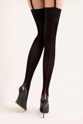 Gabriella 335 cruze czarno czerwony pończochy