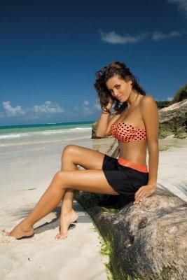 Spódniczka plażowa Marko Meg Nero-Tropico M-266 Czarno-pomarańczowy (220)