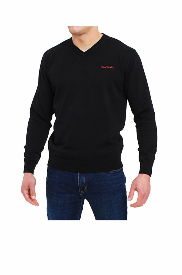 Pierre Cardin V-Napis czarny Sweter