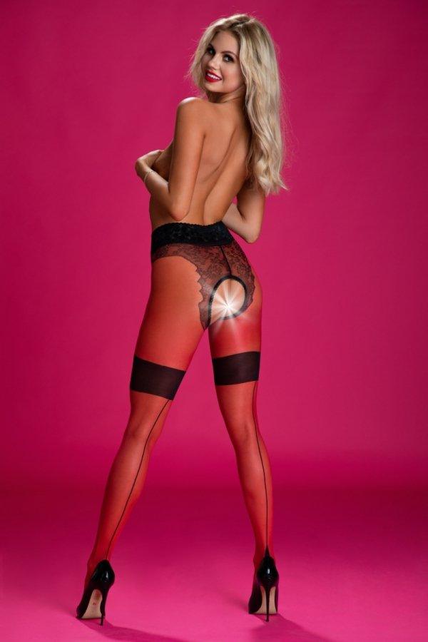 Amour Diva Red-Black 30 DEN Rajstopy