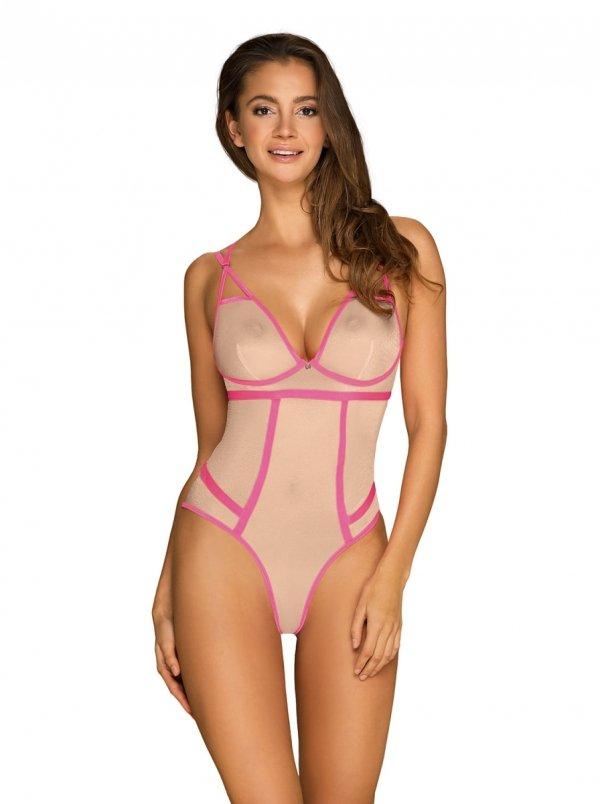 Obsessive Nudelia Body z różową lamówką