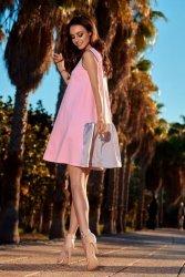 Trapezowa sukienka L247 pudrowy róż-jasnoszary