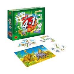 Zestaw Gier 4w1 Dinozaury + Puzzle 60 el. Alexander 0556