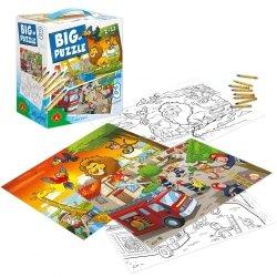 Big Puzzle 3 Zwierzęta Afrykańskie Straż Pożarna 12 el. Alexander 2469