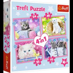 Puzzle 4w1 Zabawne Kotki 35/48/54/70 el. Trefl 34396