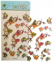 Tatuaż zmywalny dla dzieci wodny wzory blister 20x10 cm