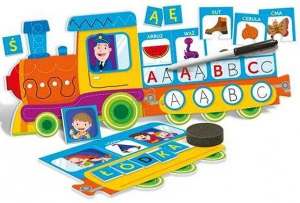 ćwiczenia litery alfabet obrazkowy pociąg