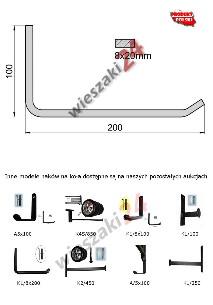 Wieszak na opony K1/8x200