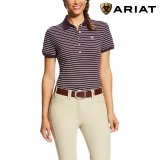 Koszulka PRIX POLO damska - Ariat - plum perfect stripe