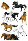 Naklejki konie 3D z brokatem