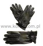Rękawiczki KENIG ze skóry cielęcej licowej czarne z zapięciem na rzep