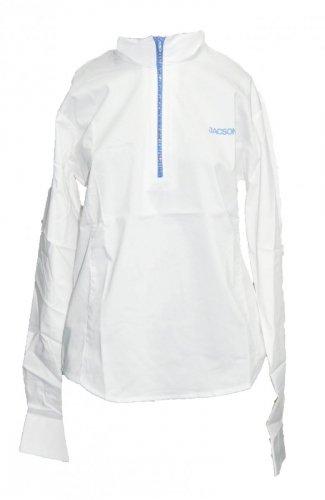 Koszula konkursowa z długim rękawem damska - Jacson - biały/niebieski