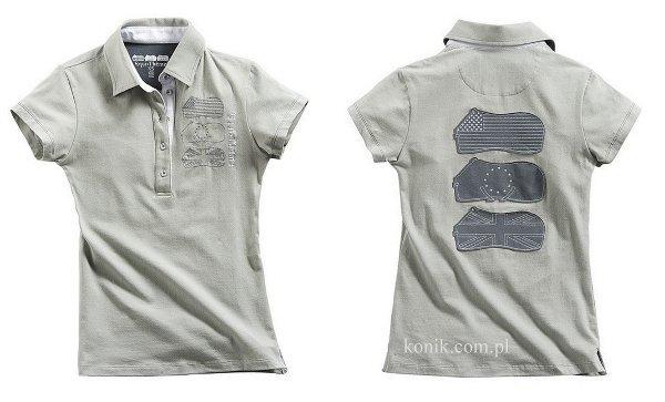 Koszulka bawełniana damska polo light grey - Equi-Theme