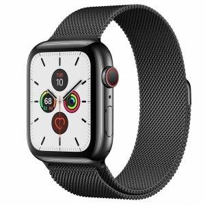 Apple Watch Series 5 44mm GPS + LTE (cellular) Stal nierdzewna w kolorze gwiezdnej czerni z bransoletą mediolańską